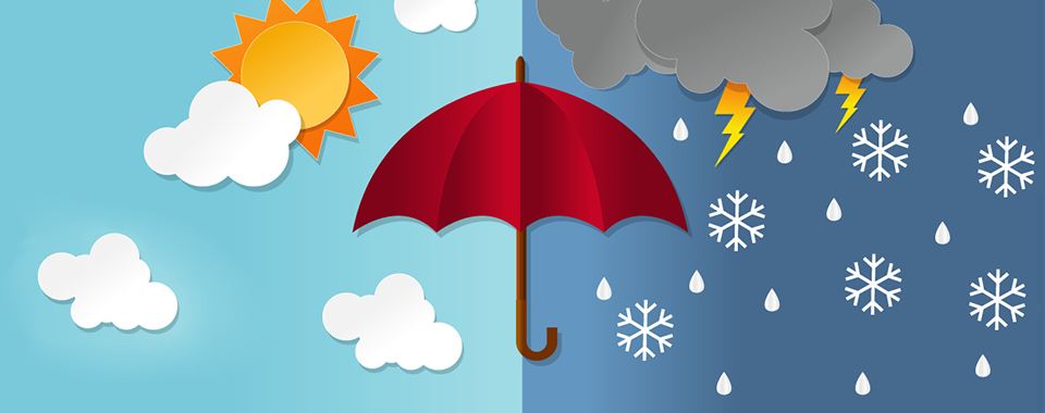 Illustration of an umbrella in front of a split-scene of sunny weather and bad weather